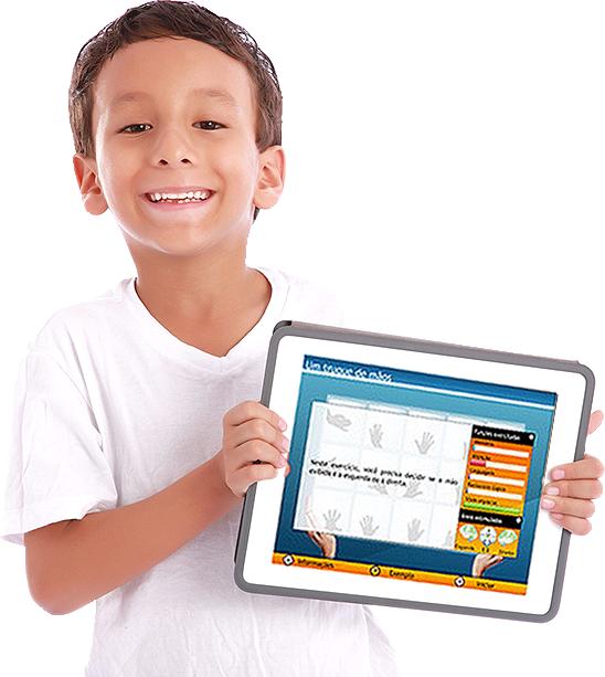 Ilustração garoto segurando tablet  Implantação Supera para Escolas